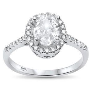 Jewelry - sterling silver 925 halo aval engagement ring